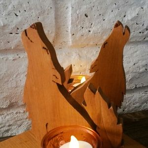 Accents - Coyote Wood Candle Holder Boho
